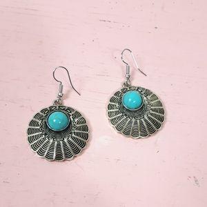 Turquoise Blue Boho Dangling Earrings